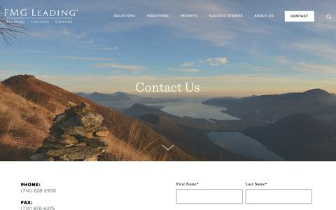 Screenshot of Contact Page fmgleading.com - Contact — FMG Leading - Human Capital Strategy - captured Nov. 14, 2018