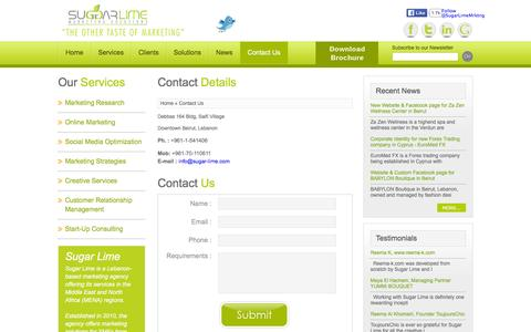 Screenshot of Contact Page sugar-lime.com - Contact Us - captured Jan. 12, 2016