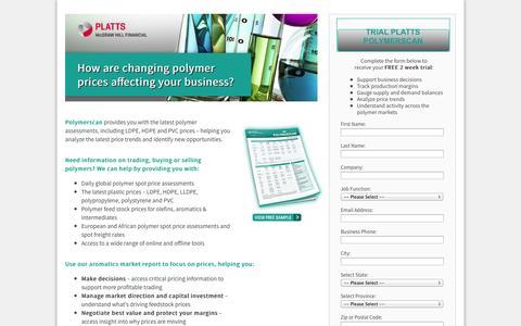 Screenshot of Landing Page platts.com - Global plastics prices, news and market analysis | Platts Europe & Americas Petrochemical Scan - captured Oct. 27, 2014
