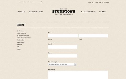 Screenshot of Contact Page stumptowncoffee.com - Contact - Stumptown Coffee Roasters - captured Sept. 24, 2014