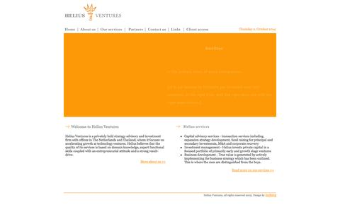 Screenshot of Home Page heliusventures.com - Helius Ventures - captured Oct. 2, 2014