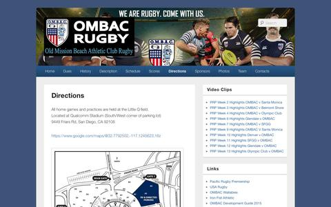 Screenshot of Maps & Directions Page ombacrugby.org - Directions | - captured Oct. 26, 2014