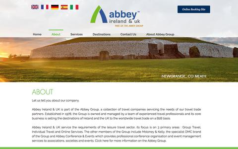 Screenshot of About Page abbey.ie - Abbey Ireland & UK Travel Specialists - captured Oct. 7, 2017