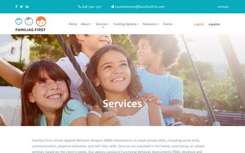 Screenshot of Services Page familiasfirst.com - Comprehensive Applied Behavior Analysis Services Los Angeles  Familias First - captured June 5, 2017