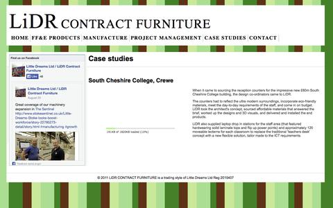 Screenshot of Case Studies Page lidr.co.uk - LiDR Contract Furniture - ff&e design & manufacture - Case studies - captured Oct. 2, 2014