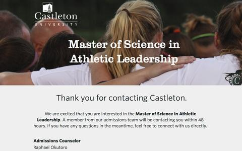 Screenshot of Landing Page castleton.edu - Castleton University | Thank You - captured July 26, 2016