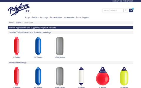 Screenshot of Support Page polyformus.com - Fender Guide - Polyform U.S.   Buoys, Boat Fenders, and Marine Accessories - captured July 9, 2017