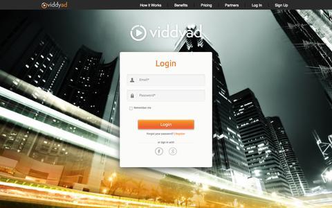 Screenshot of Login Page viddyad.com - Viddyad - Log In - captured Oct. 28, 2014