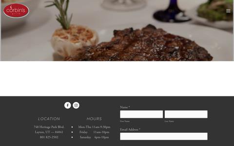 Screenshot of Menu Page corbinsgrille.com - Menu — Corbin's Grille - captured July 22, 2018