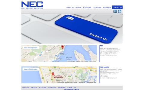 Screenshot of Contact Page nec-gr.com - NEC - New Energy Company - captured Oct. 7, 2014
