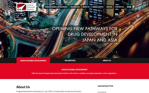 Screenshot of Home Page i-d-a.com - Integrated Development Associates » Drug Development Consulting in Japan and Asia - captured Oct. 6, 2014