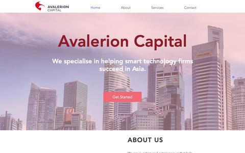 Screenshot of Home Page avalerioncapital.com - Tech Start-Up | Singapore | Avalerion Capital - captured Dec. 18, 2018