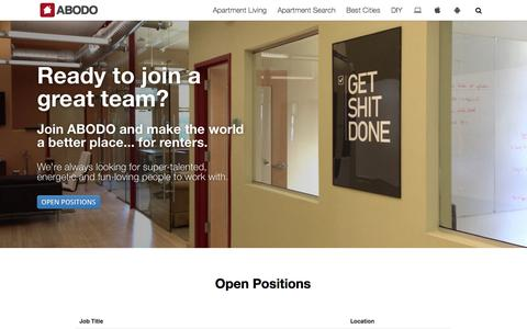 Screenshot of Jobs Page abodo.com - Careers at ABODO - captured Oct. 28, 2014