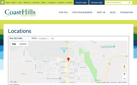 Screenshot of Locations Page coasthills.coop - Paso Robles, Atascadero, San Luis Obispo, Arroyo Grande, Nipomo, Santa Maria, Orcutt, VAFB, Vandenberg Village, Lompoc & Thousand Oaks   CoastHills Credit Union - captured Nov. 10, 2018