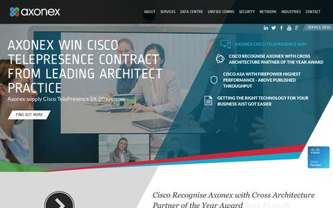Screenshot of Home Page axonex.com - Network Infrastructure and Support Specialists - Axonex - captured Sept. 30, 2014
