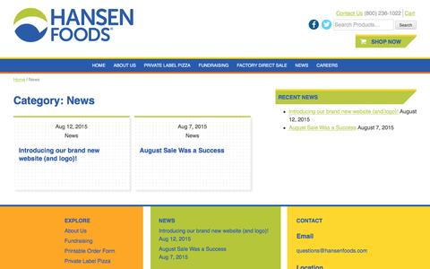 Screenshot of Press Page hansenfoods.com - News Archives - Hansen Foods - captured Oct. 24, 2016