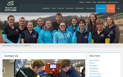 Screenshot of Contact Page triathlonscotland.org - Contact Us - Triathlon Scotland - captured Oct. 20, 2018
