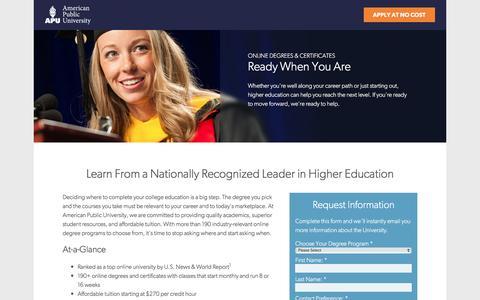 Screenshot of Landing Page apus.edu - Explore Our Schools and Programs | American Public University - captured Oct. 18, 2016