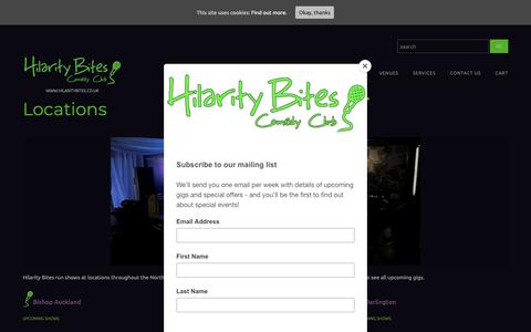 Screenshot of Locations Page hilaritybites.co.uk - Locations - Hilarity Bites Comedy ClubHilarity Bites Comedy Club - captured Oct. 24, 2018