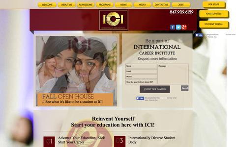 Screenshot of Home Page ici-training.com - International Career Institute Chicago Practical Nursing Program CPR - captured Oct. 6, 2014