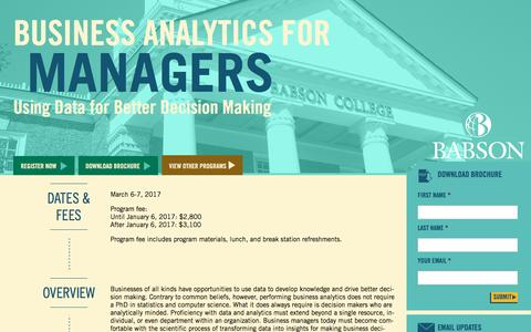 Screenshot of Landing Page babson.edu - Business Analytics for Managers: Using Data for Better Decision Making - captured Aug. 26, 2016