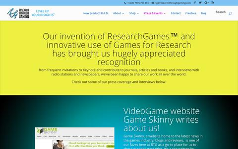 Screenshot of Press Page researchthroughgaming.com - Press | Research Through Gaming - captured Oct. 20, 2018
