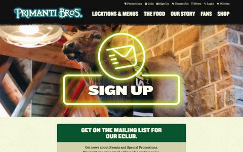 Screenshot of Signup Page primantibros.com - Sign Up for Our Mailing List - Primanti Bros. Restaurants - captured Sept. 19, 2014