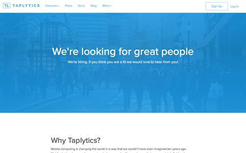 Screenshot of Jobs Page taplytics.com - Careers   Taplytics - captured Feb. 10, 2017