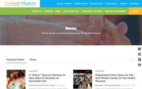Screenshot of Press Page thehealthmuseum.org - News | The Health Museum - captured Oct. 22, 2017