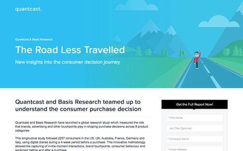 Screenshot of Landing Page quantcast.com - Quantcast & Basis Research| The Road Less Travelled - captured Dec. 14, 2016
