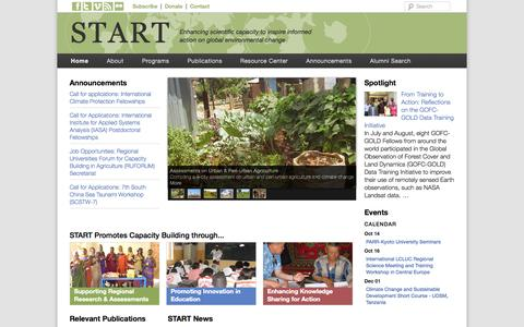 Screenshot of Home Page start.org - START | Enhancing scientific capacity  to inspire informed action on global environmental change - captured Oct. 6, 2014