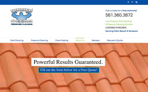 Screenshot of About Page flpowerclean.com - Pressure Cleaning Services in Palm Beach, Broward, Lake Worth, Boynton Beach and All of South Florida, Florida (FL) - captured Jan. 30, 2016