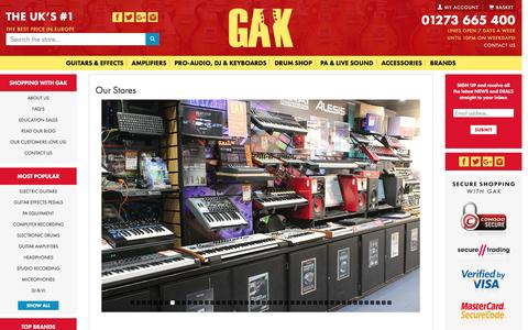 Screenshot of About Page gak.co.uk - Our Stores - captured July 9, 2016