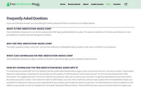 Screenshot of FAQ Page free-meditation-music.com - Frequency Asked Questions - Free Meditation Music - captured Oct. 19, 2018