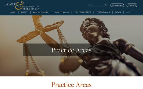 Screenshot of Services Page somerheller.com - All Practice Areas — Somer Heller LLP - captured Nov. 18, 2018