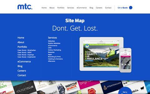 Screenshot of Site Map Page mtcmedia.co.uk - Sitemap | mtc. Web Design and Web Development - captured Sept. 23, 2014