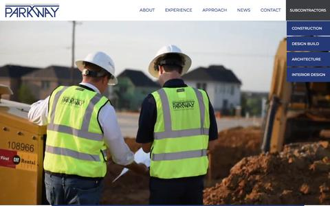 Screenshot of Home Page parkwayconstruction.com - Parkway Construction - captured Aug. 20, 2019