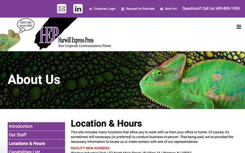 Screenshot of Locations Page harwillexpresspress.com - Harwill Express Press : About Us : Locations & Hours - captured Nov. 4, 2018