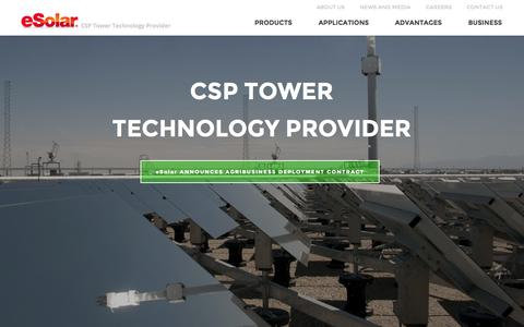 Screenshot of Home Page esolar.com - Concentrated Solar Power Tower Technology Provider • eSolar - captured Jan. 15, 2015