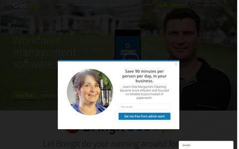 Screenshot of Home Page geoop.com - GeoOp - Job management made easy - captured Dec. 3, 2016