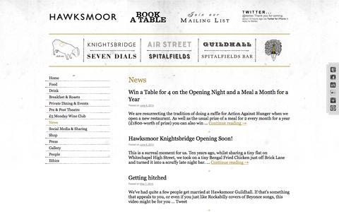 Screenshot of Press Page thehawksmoor.com - News | The Hawksmoor - captured Sept. 19, 2014
