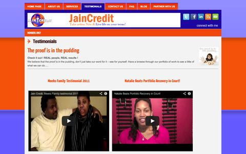 Screenshot of Testimonials Page myjaincredit.com - Testimonials | myjaincredit - captured Oct. 3, 2014