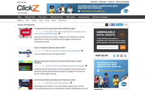 Screenshot of clickz.com - Social Integration | ClickZ - captured March 30, 2016