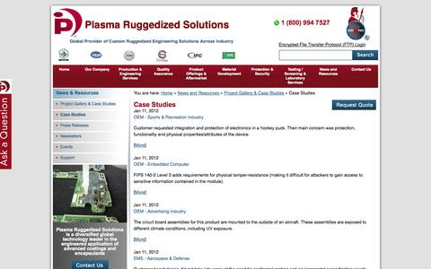 Screenshot of Case Studies Page plasmarugged.com - Case Studies - Plasma Ruggedized Solutions - captured Oct. 2, 2014