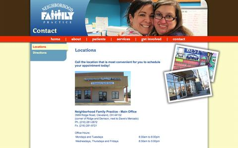 Screenshot of Contact Page Locations Page nfpmedcenter.org - Locations - Neighborhood Family Practice - captured Oct. 26, 2014