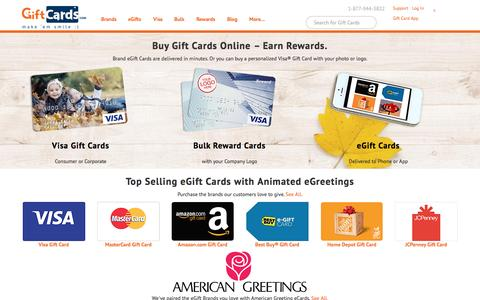 Screenshot of Home Page giftcards.com - Buy Gift Cards, eGift Cards, Visa Gift Card | GiftCards.com - captured Nov. 18, 2015