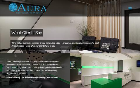 Screenshot of Testimonials Page auraoffice.ca - What Clients Say - Office Design Testimonials & Case Studies - captured Oct. 2, 2018