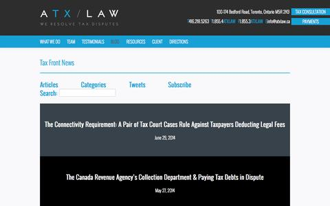 Screenshot of Blog atxlaw.ca - Blog - ATX Law - captured Sept. 30, 2014