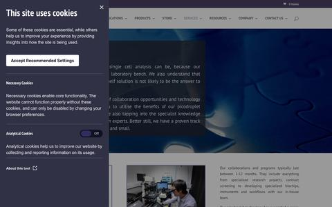 Screenshot of Services Page spherefluidics.com - Single cell analysis services   Sphere Fluidics - captured Oct. 19, 2018