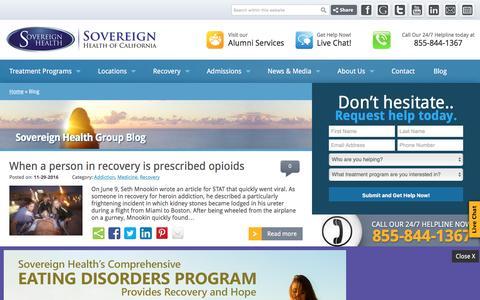 Screenshot of Blog sovcal.com - Sovereign Health Group - Dual Diagnosis Treatment Center - captured Dec. 1, 2016